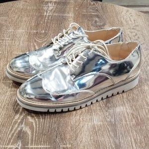 Zara metallic silver platform oxford derby shoes